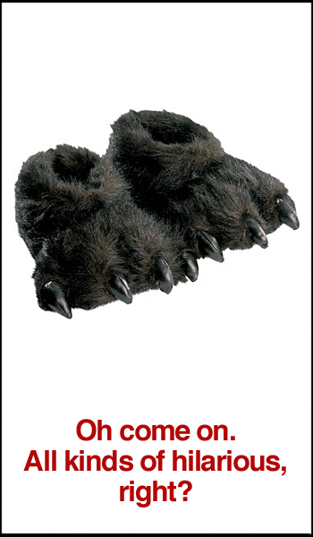 Furry Black Animal Slippers