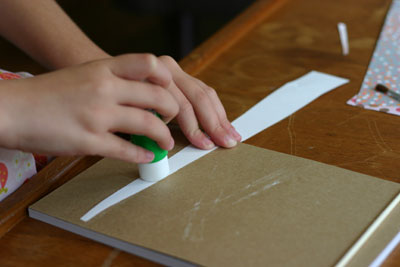 gluing paper strips