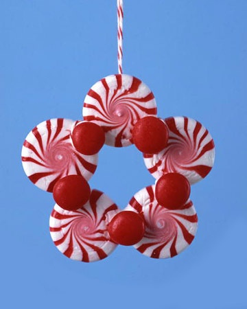Handmade Christmas Ornaments made with peppermint candy