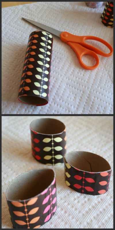 Cutting paper rolls for recycled Thanksgiving napkin rings