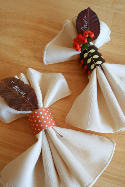 Recycled Napkin Rings for The Thanksgiving Table