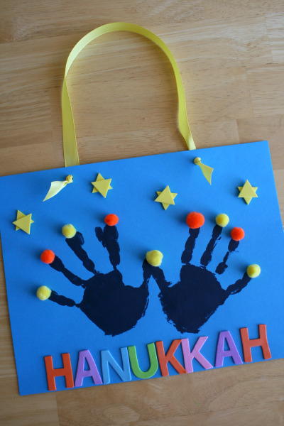 Handprint Menorah to Celebrate Hanukkah