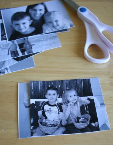 cutting photos with scissors