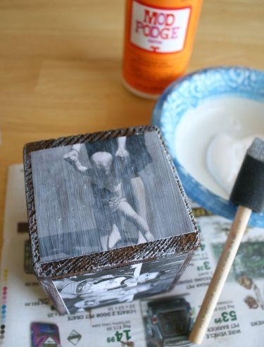 mod podge photos to wooden block