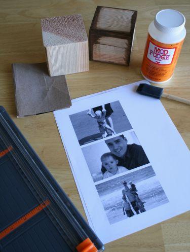 supplies for photo cube craft (mod podge, blocks, photo prints)