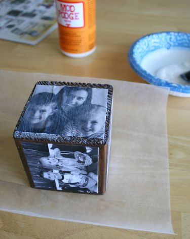 adding photo to wooden block with mod podge