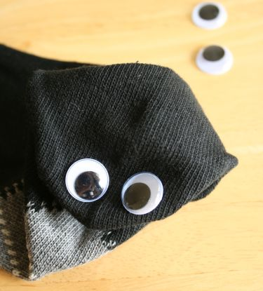 googly eyes on sock