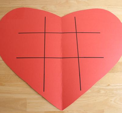 paper heart tic tac toe game