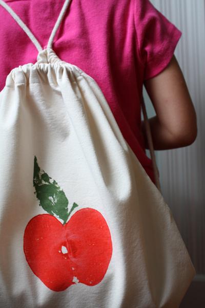 Apple Print Backpack