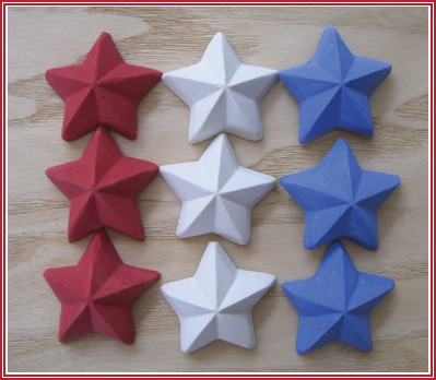 Red, white and blue star shaped sidewalk chalk