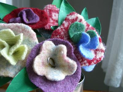 bouquet of felt flowers