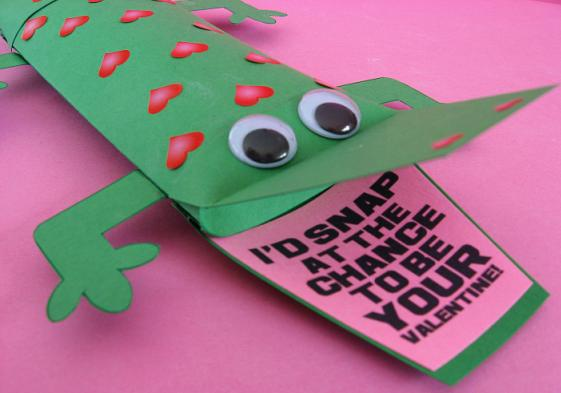 cute alligator free printable for valentine's day