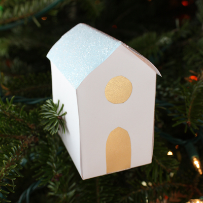 Glitter Paper House hanging on Christmas Tree