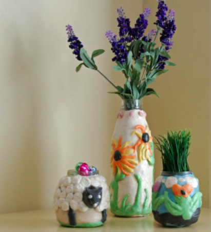 Salt dough flower pots and vases