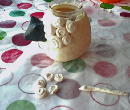 decorating a jar with salt dough
