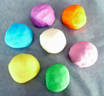 salt dough balls in a variety of spring colors