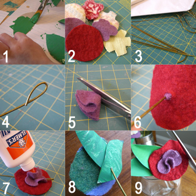 steps for making felt flowers