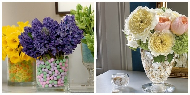 Floral arrangements in vases with candy and buttons