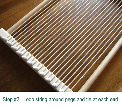 Looping string around pegs for weaving