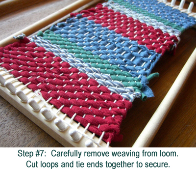 removing weaving from loom
