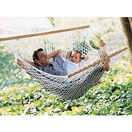 Father and son in a hammock