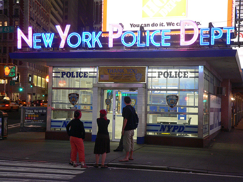 New York police department at night