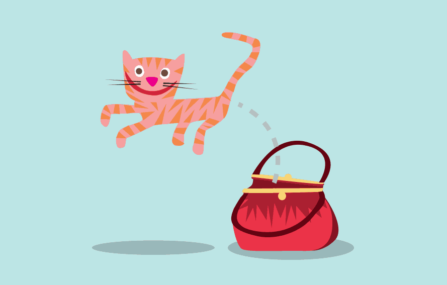 Illustration of a smiling Cat jumping out of a bag or purse