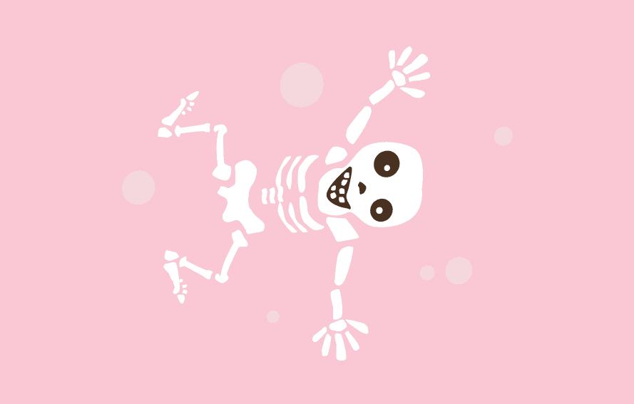 cute illustration of skeletons and bones on pink background