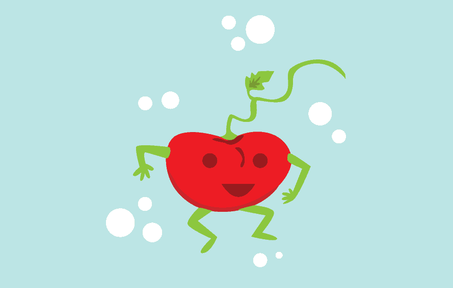 cute illustration of a smiling tomato to depict size of a fetus at 15 weeks