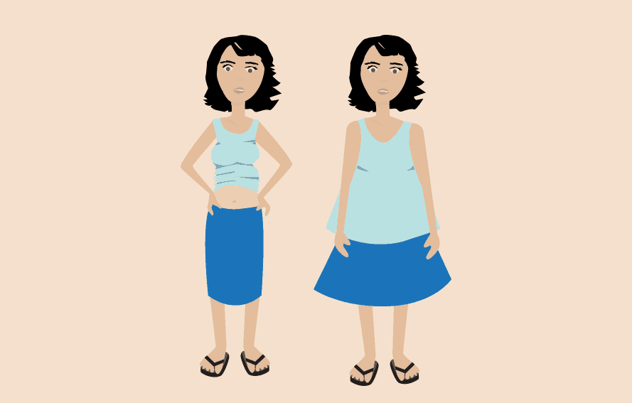illustration of a before and current pregnant mom in her clothing