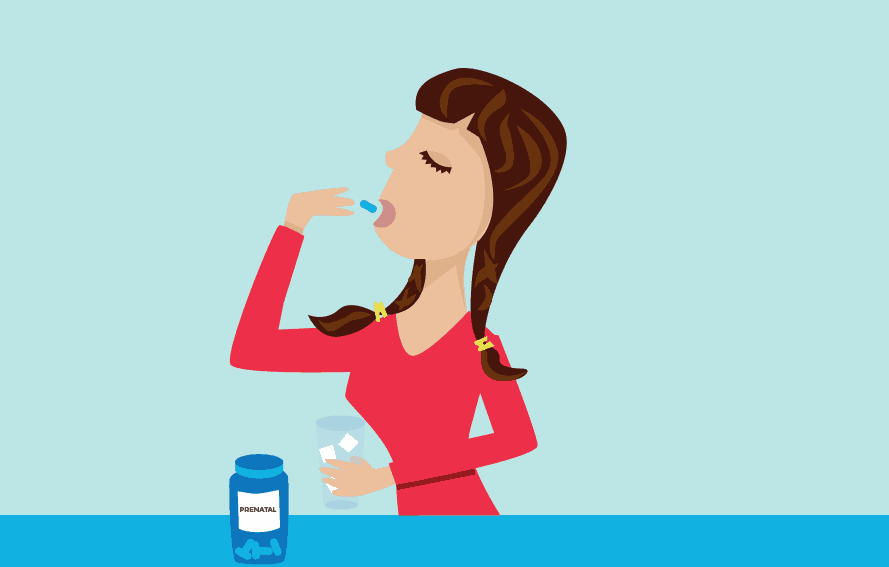 illustration of woman wearing red taking prenatal vitamins on a blue background