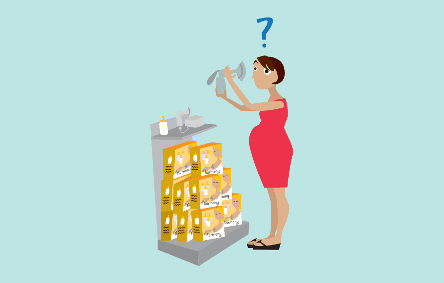 cute illustration of expectant woman inspecting breast pumps