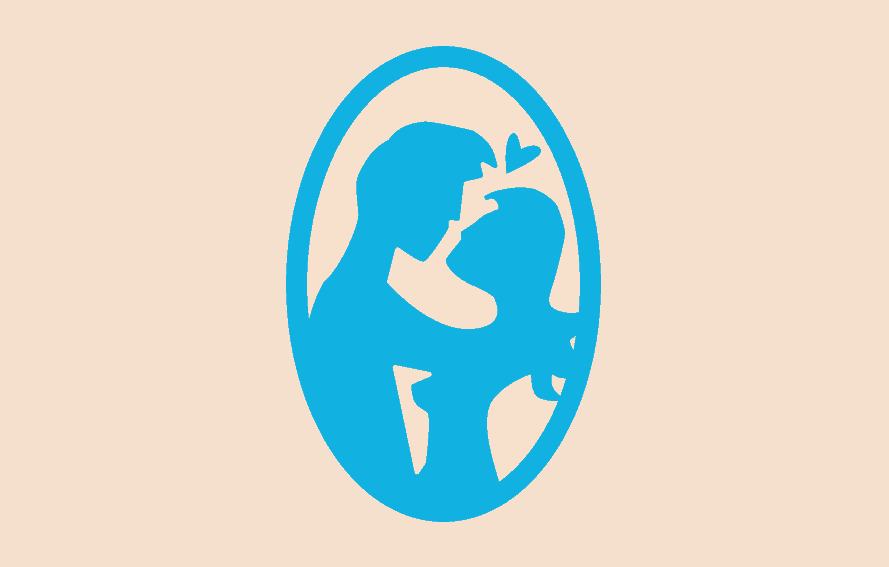 Illustration of man and woman embracing in a cameo frame