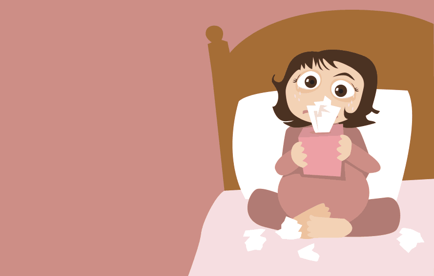 cute illustration of pregnant woman with a cold and blowing her nose with tissue