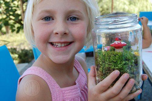 Annalie shows off her terrarium
