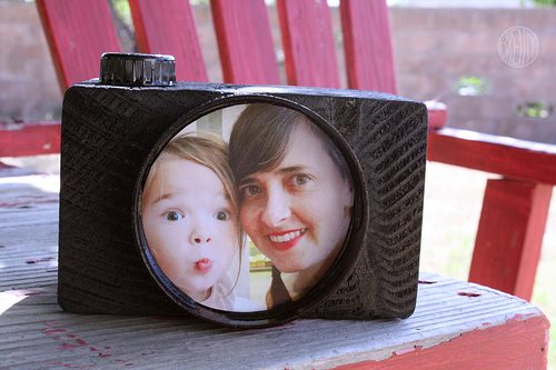 Daddy Cam craft with photo of a child and mother