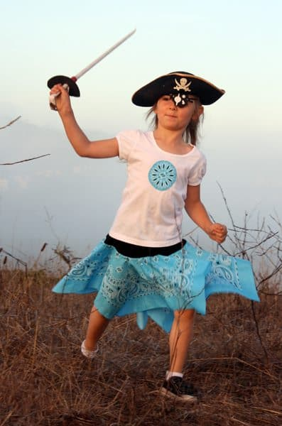 DIY Pirate Costumes for Kids (blue bandana skirt)