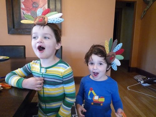 The Thanksgiving Feather Hunt (children with Turkey headbands)