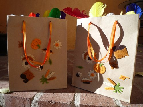 Decorated bag filled with feathers for Thanksgiving