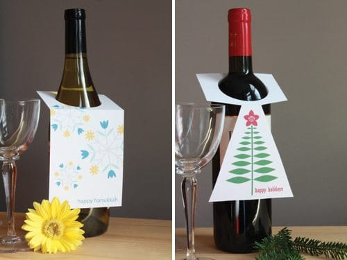 Wine Bottles with Christmas card hangers