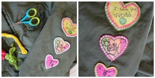 3 felt heart patches sewn on clothing