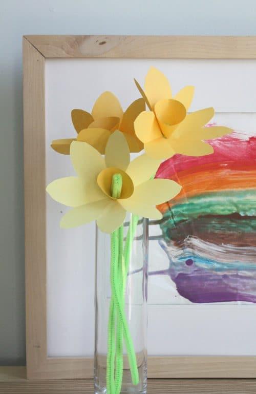 Paper Daffodils in a glass jar