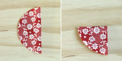 Folding floral patterned fabric into halves