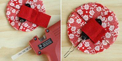 hot gluing fabric with hot glue gun