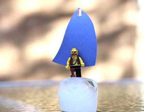 ice cube boat craft with plastic toy figure