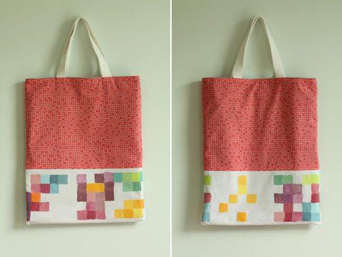 pixel painted tote bags