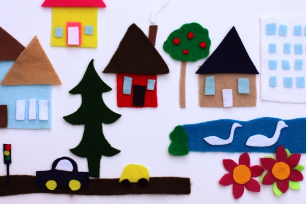 Tiny Town Made from Felt and Scissors