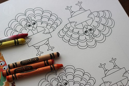 Turkey printable for Thanksgiving placecards