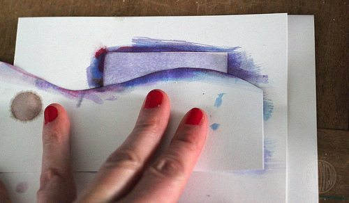 masking snow drifts with watercolor paint