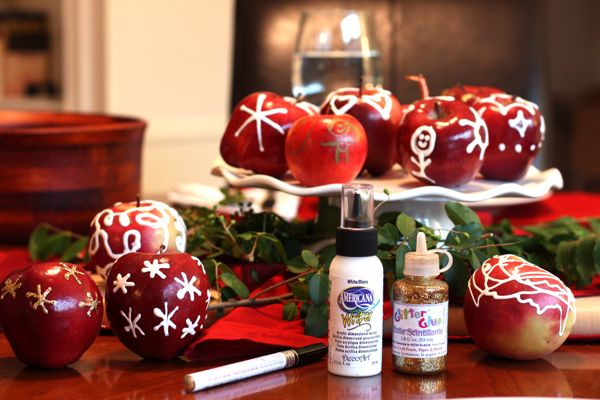 Kids' Apple Craft: Paint Embellished Apples for a Holiday Table